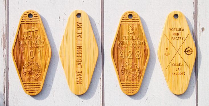 ウッドキータグのオリジナル印刷(レーザー彫刻加工)
