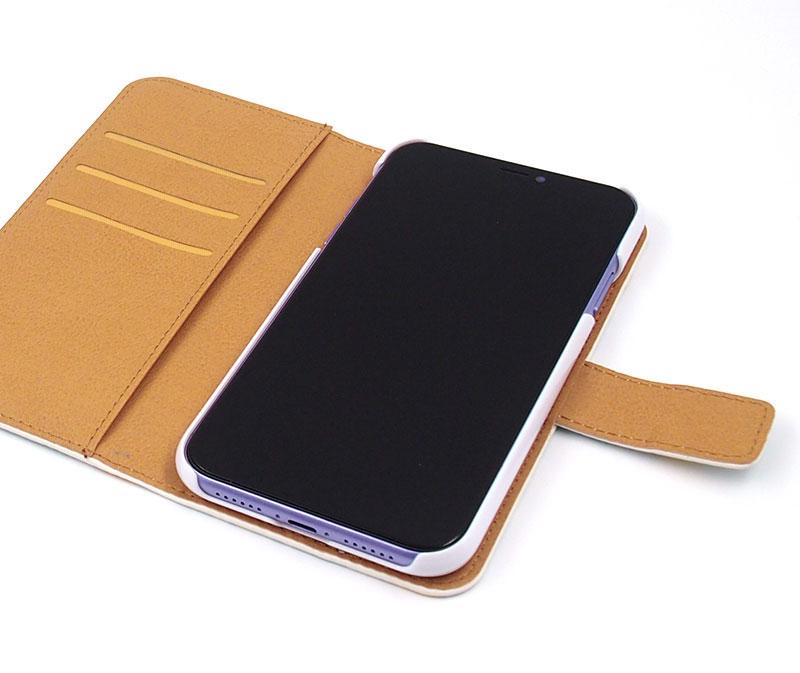ヌメ革風のきめ細かい風合いの手帳型ケースはヨツバ印刷だからこそできるオーダーメイド手帳