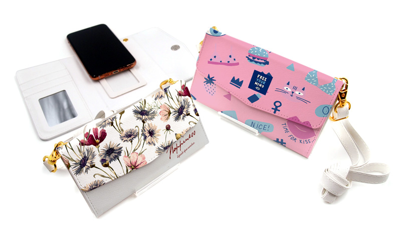 スライド式三つ折り手帳型スマホケースのオリジナル印刷・プリント